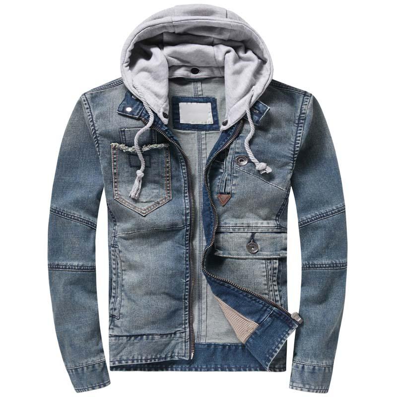 Осенняя Модная Джинсовая куртка с капюшоном, мужская хлопковая джинсовая куртка, Повседневная тонкая эластичная Ретро винтажная куртка, Му... - 3