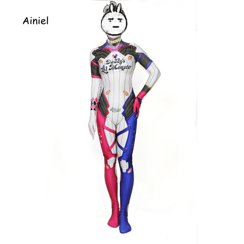 Ainiel Kids Girls Suicide Squad  Cosplay Costume Daddy's Lil Monster Cosplay Lycra Spandex   Zentai Suit Halloween Jumpsuit