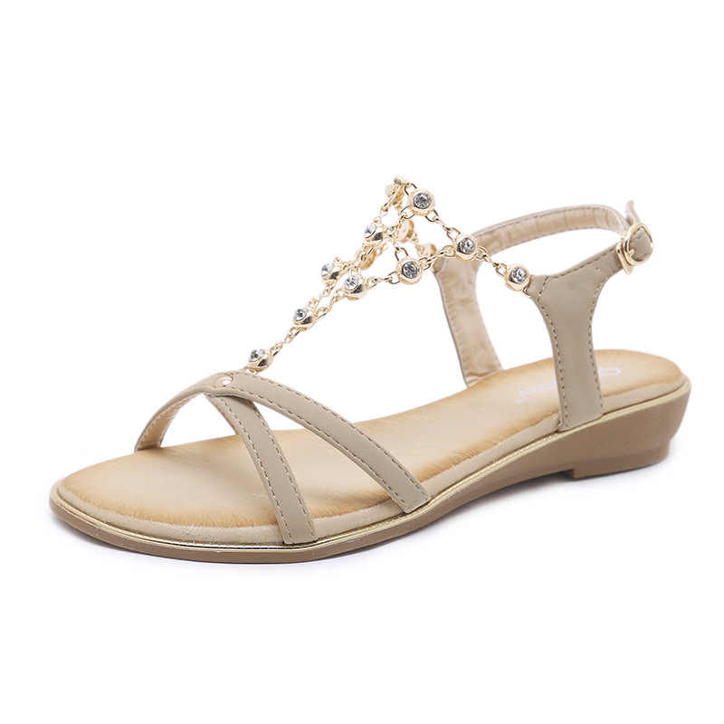 878bd0f93b2689 new women Bohemia Flat sandals shoes woman String Crystal Metal Decoration  beach sandals casual shoes size