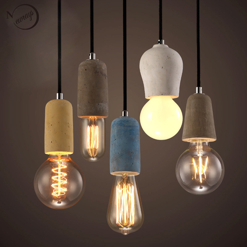 3 Style Colorful Brief Loft Nordic Cement Pendant Lights Modern Led E27 110V 220V Cord Lamp Restaurant Living Room Cafe Bedroom