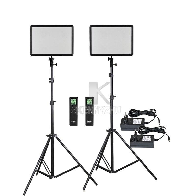 2x Godox Ultra Slim LEDP260C 256pcs LED Video Light Panel Lighting Kit 2m Stand Controller 30W