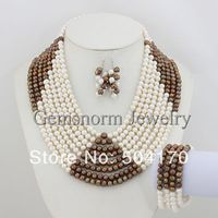 Fabulous Freshwater Pearl Jewelry Set Handmade Pearl Beads Wedding Jewelry Set Free Shipping FP111