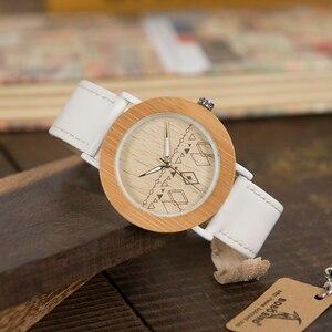 Image 5 - BOBO VOGEL WE24 Unisex Top Marke Designer Armbanduhren Für Frauen Natur Bambus & Stahl Uhren in Geschenk Boxen Dropshipping OEM