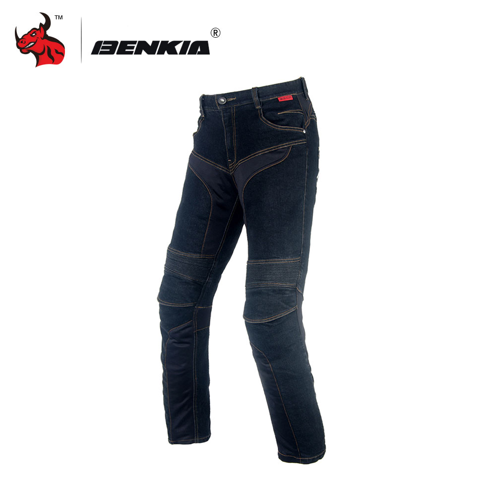 BENKIA Motorcycle Racing Jeans Men's Motorbike Motocross Off-Road Knee Protective Moto Jeans Trousers Black Men Jeans Jeans Moto