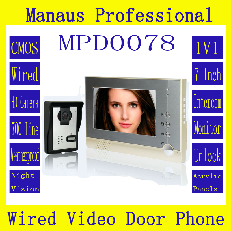 High Quality One to One Video Doorphone Kit Configuration Smart Home 7 inch Screen Touch Video Intercom Phone D78b 7 inch video doorbell tft lcd hd screen wired video doorphone for villa one monitor with one metal outdoor unit night vision