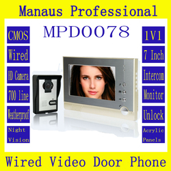 High Quality One to One Video Doorphone Kit Configuration Smart Home 7 inch Screen Touch Video Intercom Phone D78b