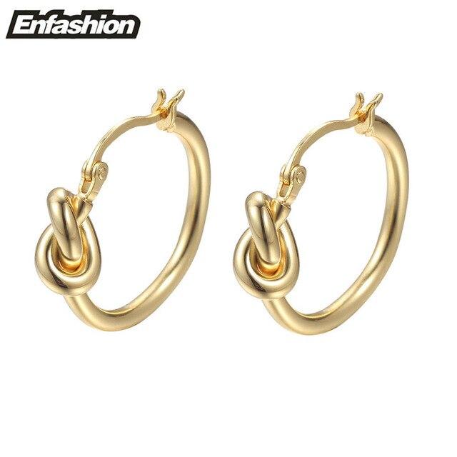 Enfashion Wholesale Classic Knot Hoop Earrings Gold Plated Earings Round Earrings For Women Jewelry oorbellen ohrringe
