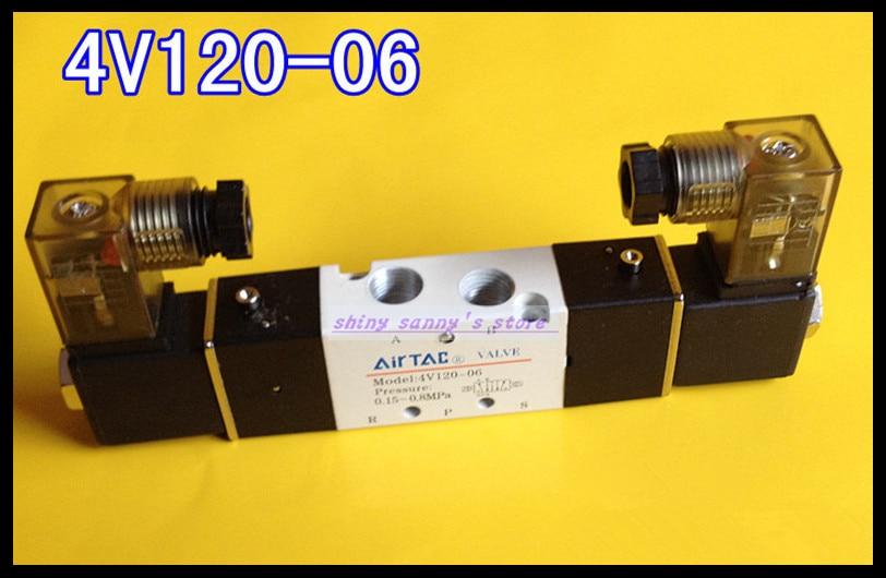 1Pcs 4V120-06 AC110V 5Ports 2Position Double Solenoid Pneumatic Air Valve 1/8 BSPT Brand New 1pcs 4v430c 15 ac110v 5ports 3position dual solenoid pneumatic air valve 1 2 bspt brand new