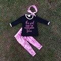 Roupas de outono roupa do bebê da menina correr em cupcakes Jesus meninas Lantejoulas camisa headband do conjuntos de calça preta