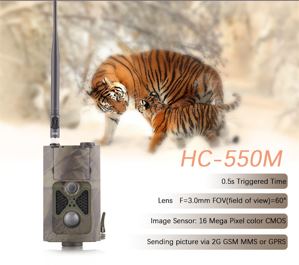 16MP Deer Hunting Camera Photo Traps MMS GPRS Digital Video Camera Waterproof Hunting Wildlife Camera Trap HC550M Photo Hunting