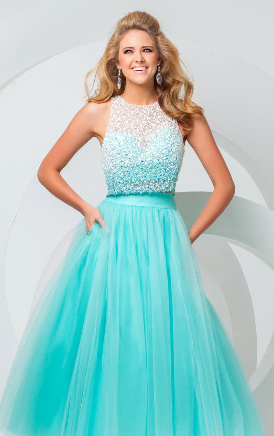 New Fashion Designer Two Piece Prom Dresses 2015 Tulle Top Beaded ...