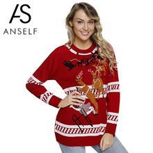 80f0f25d070b Las mujeres de punto feo suéter de Navidad, renos, árbol de Navidad, los