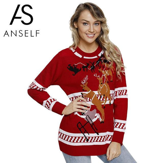 082b2b1f785 Women Knitted Ugly Christmas Sweater Reindeer Snowflake Tree Patterns Warm  Autumn Winter Funny Pullover Pull Hiver Femme 2019