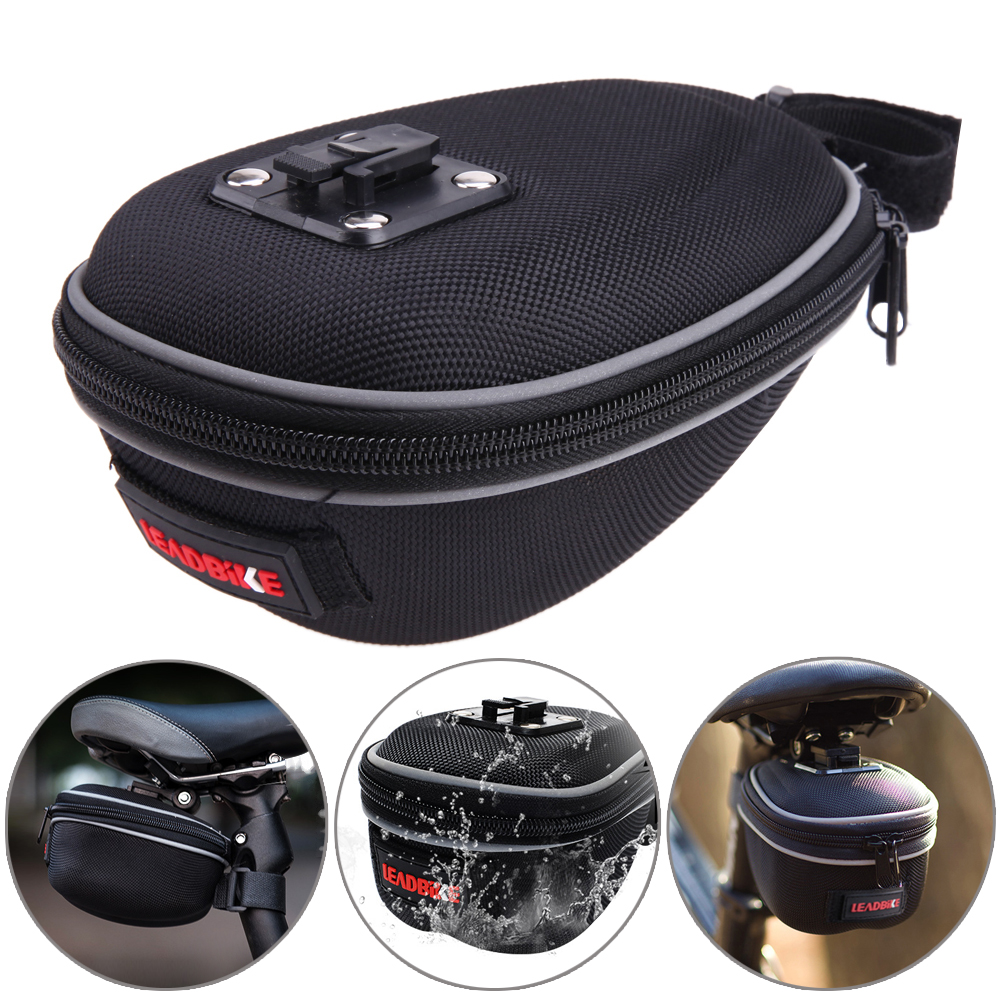Bike Bag Rainproof Bicycle Saddle Shockproof Hard Shell Bag With Install Tools Black Bike Seat Pouch Cycling Tools outdoor rainproof multifunction bike luggage carrying bag black grey 67l
