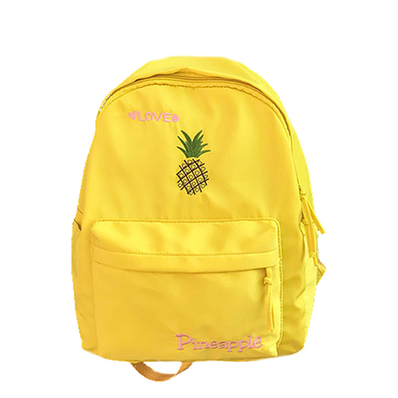 5PCS / LOT High Capacity Casual Nylon Women Backpack Cute Cartoon Fruit Bird Embroidery Girl Student Shoulder School