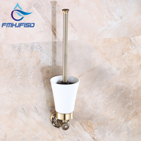 Good Quality Solid Brass Toilet Brush Holder Wall Mounted Ceramic Cup W Toilet Brush