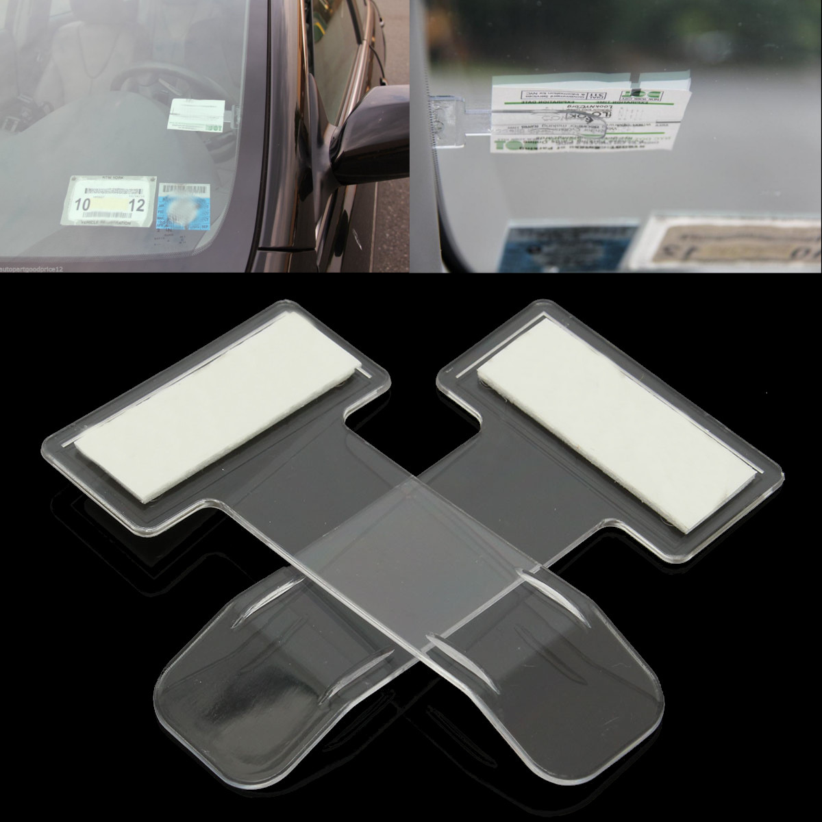 2Pcs 75mm*40mm Car Vehicle Parking Ticket Permit Holder Clip Sticker Windscreen Window Fastener Stickers Kit Car Accessories