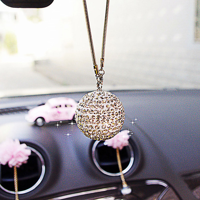 Car pendant crystal diamond lucky ball girl jewelry auto rearview mirror decorative accessories car tassel hanging ornaments