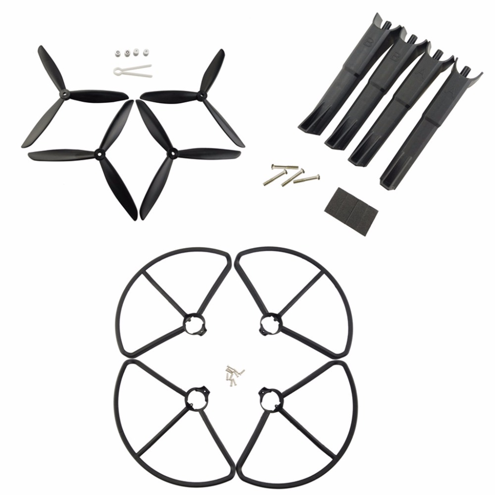 MJX B2C B2W Bugs 2 for Four-axis aircraft upgrade parts landing gear and propeller and protective cover UAV parts + Black