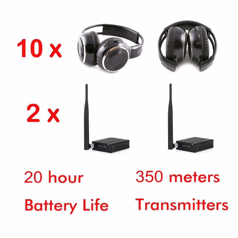 Professional Silent Disco Sound System Headphones RF Wireless headsets (10 folding Headphones + 2 Transmitters)