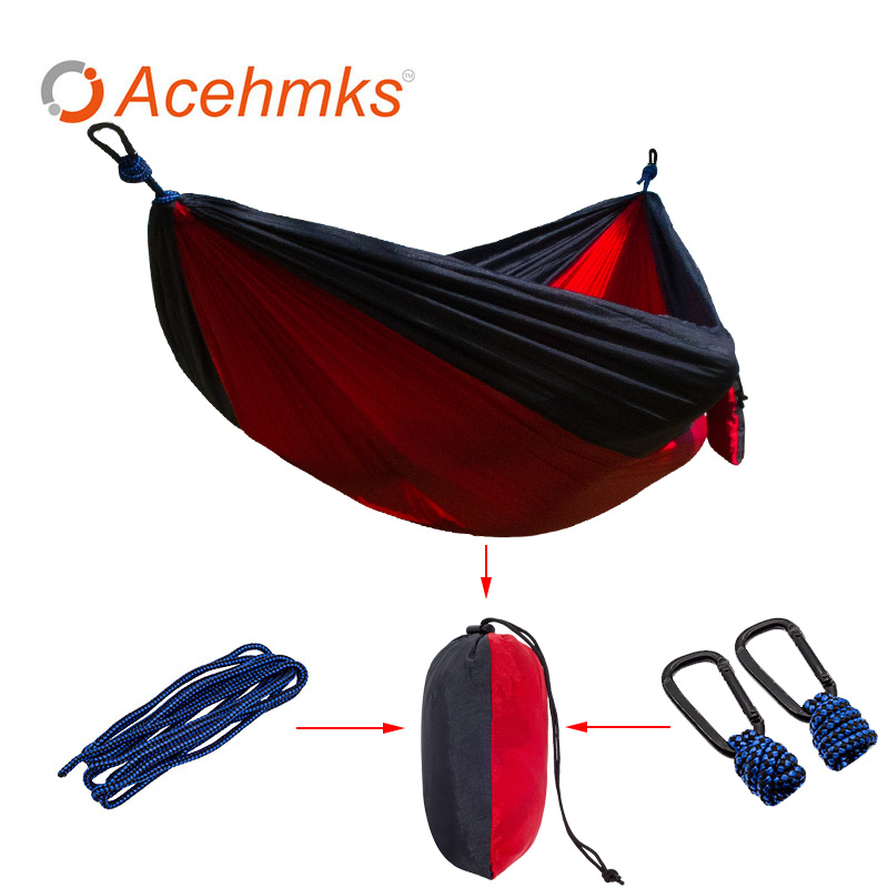 Acehmks Portable Parachute Hammock Outdoor Survival Camping Hammocks Garden Leisure Travel Double hanging Swing 270cmx140cm camping hiking travel kits garden leisure travel hammock portable parachute hammocks outdoor camping using reading sleeping