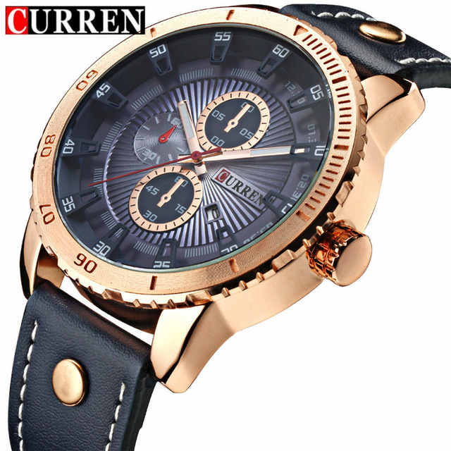 Curren Men s Sports Quartz Watches Analog Date Men Gold Watches Leather Wristwatches Waterproof Relogio Masculino