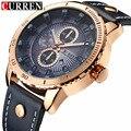 Curren homens esportes relógios de quartzo analógico data dos homens relógios de ouro de couro relogio masculino homens relógio de pulso à prova d' água 8206