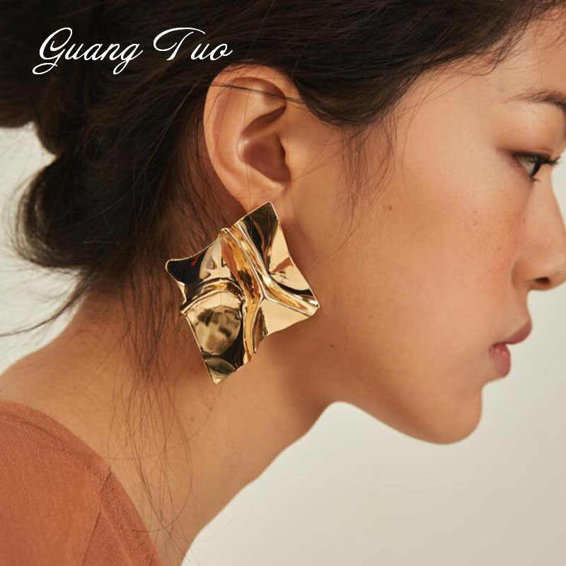 ES2126 Punk Gold Silver Folded Stud Earrings for Women Brincos Fashion Personality Earrings Party Charm Jewelry Hot Selling