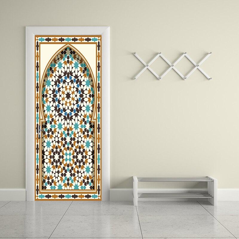 77x200cm Newest Islam Muslim Gate Door Sticker Ramadan Door Removable Wall Sticker Living Room Bedroom Home Decoration YMT063