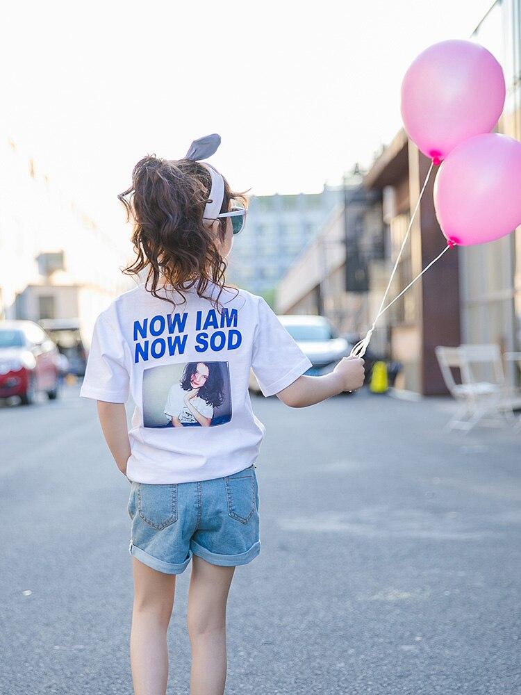 Kids Girl T-shirt Toddler Clothes Short Sleeve Girl Shirts Cotton School Costume White Print Loose Tee Shirt Girls Tops Teenager