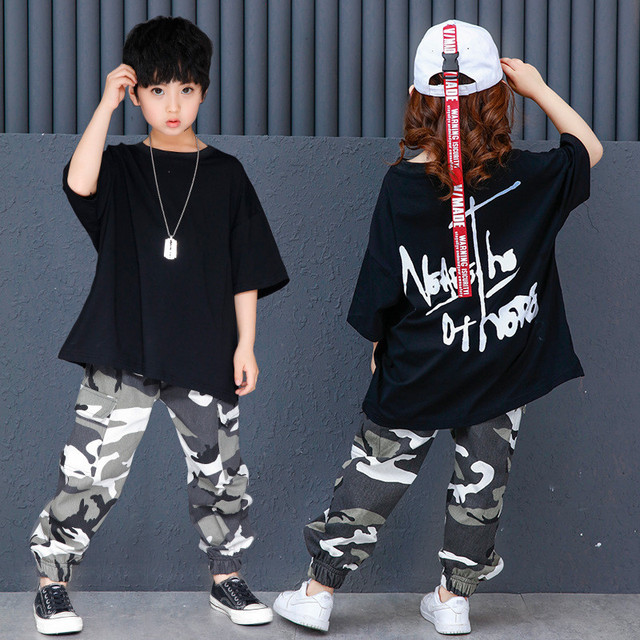 a00d10bff Kids Summer Clothes for Boys Girls 2018 New Black Letter Pattern T-shirt  Camouflage Loose Pants 2pcs Hip Hop Dancing Outfits
