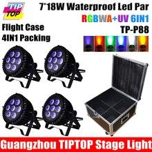 Отсутствие Шума 4 XLot Открытый 7 Шт. LED RGBWA УФ 6in1 18 Вт Led Par свет DMX Par Высокой Мощности Par Банок Супер Яркий 4IN1 Кейс Пакет