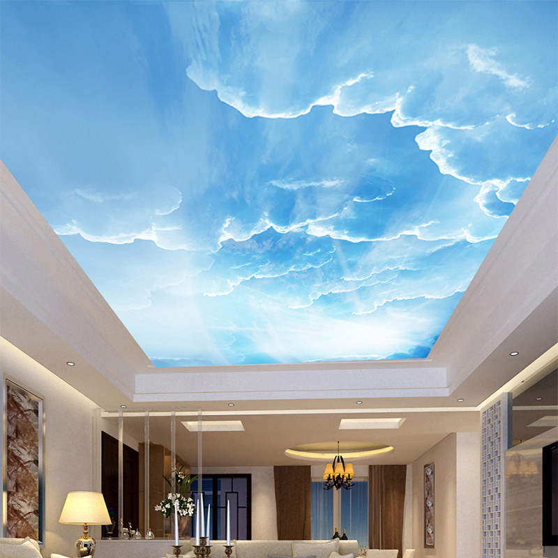 Blue Sky And White Clouds 3D Stereo Ceiling Mural Wallpaper Living Room Theme Hotel Interior Modern Simple Decor Ceiling Fresco