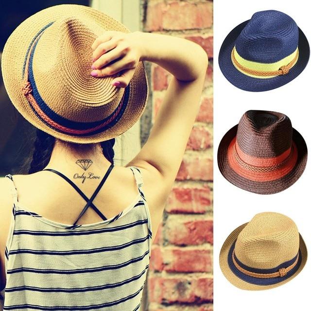Flat top chapéu de palha do Verão das mulheres da Primavera viagem sun chapéus Floppy Dobrável Ladies Mulheres Palha Praia Chapéu de Sol de Verão aba larga