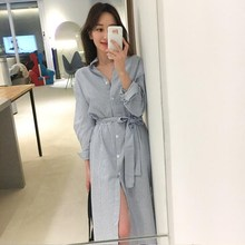 2019 Korean Style Long Sleeve Striped Dress Women Autumn Casual Turn-Down Collar Knee Length Shirt Dress 2019 new fashion women turn down collar three quarter sleeves casual striped button dress women belt striped knee length dress