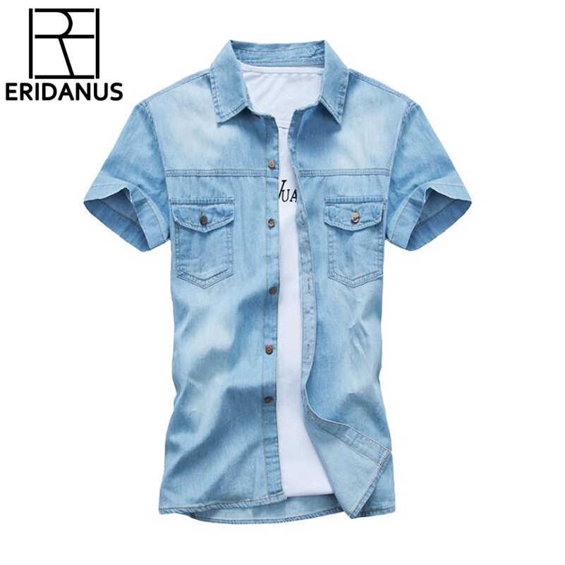 2dcd970b9ee1767 Летние Джинсы для женщин Рубашки для мальчиков мужские короткий рукав  модные Повседневное хлопок джинсовая рубашка социальных