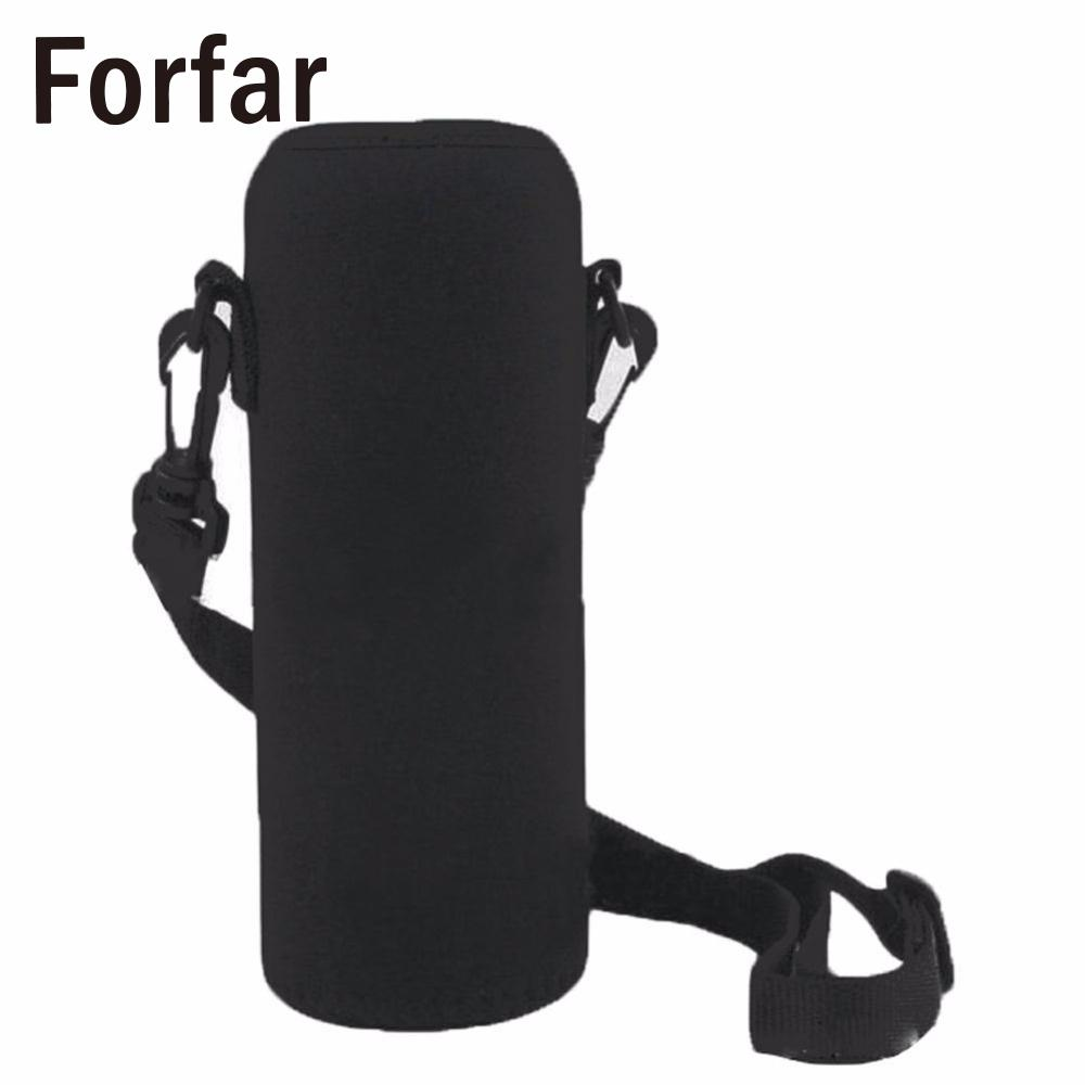 Forfar 750ML Water Bottle Cover Bag Pouch w/Strap Neoprene Water Bottle Carrier Insulated Bag Pouch Holder Shoulder Strap waterproof bag pouch w compass armband neck strap for iphone 5 4 4s camouflage green