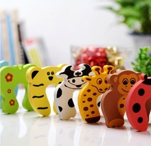 2014 6X Free Shipping cute animal designs Baby safety Door Jammer Guard Finger Protector Stoppers for random mixed-FMJ01