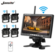 Jansite 7 TFT LCD Wireless Car Rearview Monitor Display Reverse Assistance Camera Paking System with 4 Backup cameras for Truck