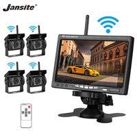 Jansite 7 TFT ЖК дисплей беспроводной заднего вида автомобиля монитор дисплей обратная помощь камера система парковки с 4 резервной камерой s для