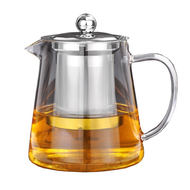 5Sizes Good Clear Borosilicate Glass Teapot With 304 Stainless Steel Infuser Strainer Heat Coffee Tea Pot Tool Kettle Set