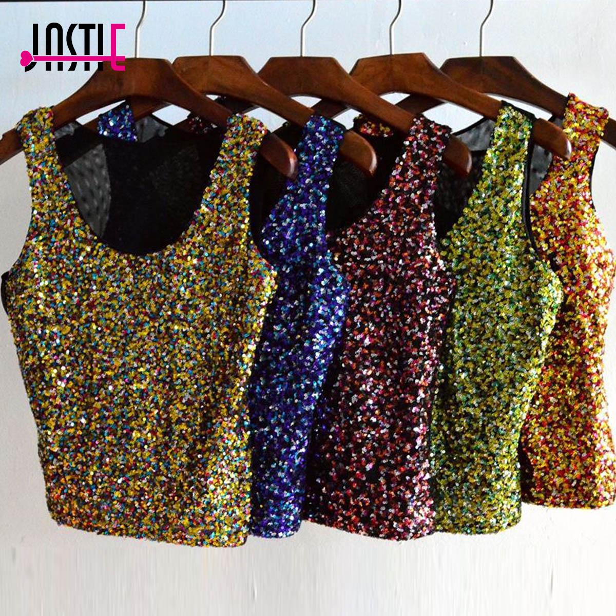 Jastie צבעוני קיץ הגופייה הנשים Sparkle פאייטים Vest חולצות טריקו מקרית נשים ללא שרוולים קצרים חולצה יבול למעלה Blusa