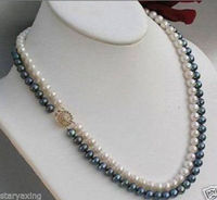 Free Shipping 2 Rows 7 8mm Black White Freshwater Cultivation Pearl Necklace 17 18 YYX4