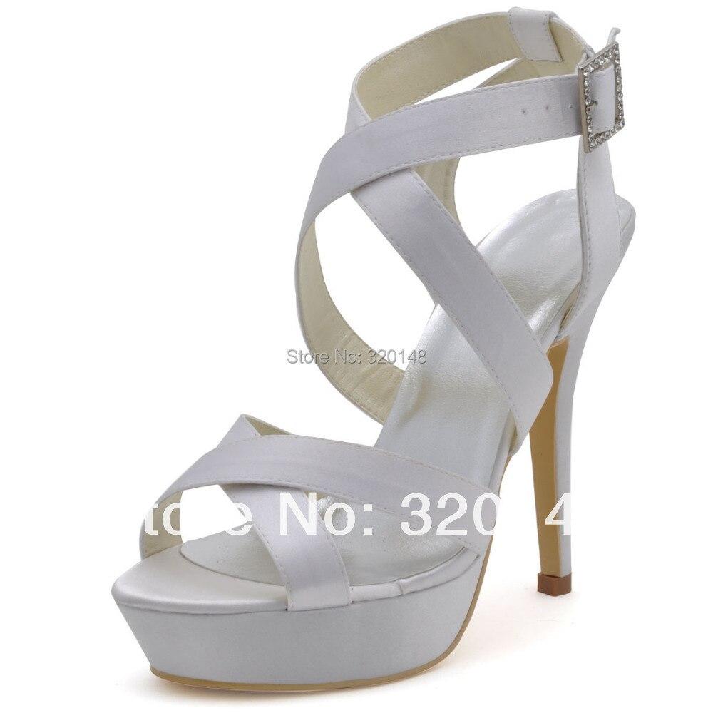 ФОТО Fashion Wedding Sandals Bridesmaids Shoes  EP2124-PF White Open Toe Cross Straps Platform Sexy High Heels Sandals Shoes Woman