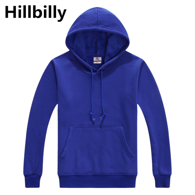 Women's Hoodies Solid Blue Casual Hoodies Men With Pocket Brand Clothing Top Quality Full & Winter Cotton Hoodies & Sweatshirts