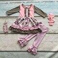 Meninas do bebê roupas crianças Outono/inverno pant define ruffle outfits floral de algodão de manga longa roupas com colar combinando e arco