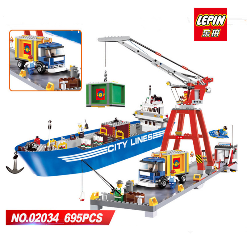 IN STOCK LEPIN New 02034 City series the Harbor Model Building Blocks set compatible 7994 Classic education Toy for children new 1048pcs building blocks children lepins education toy baby gifts the spasskaya tower of moscow kremlin model building blocks