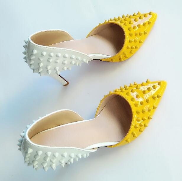 2018 So New Kate Yellow White Spikes Rivets Studs DOrsay & Two-Piece Women Pumps High Heels Sexy Lady Point Toe Plus Size 35-43
