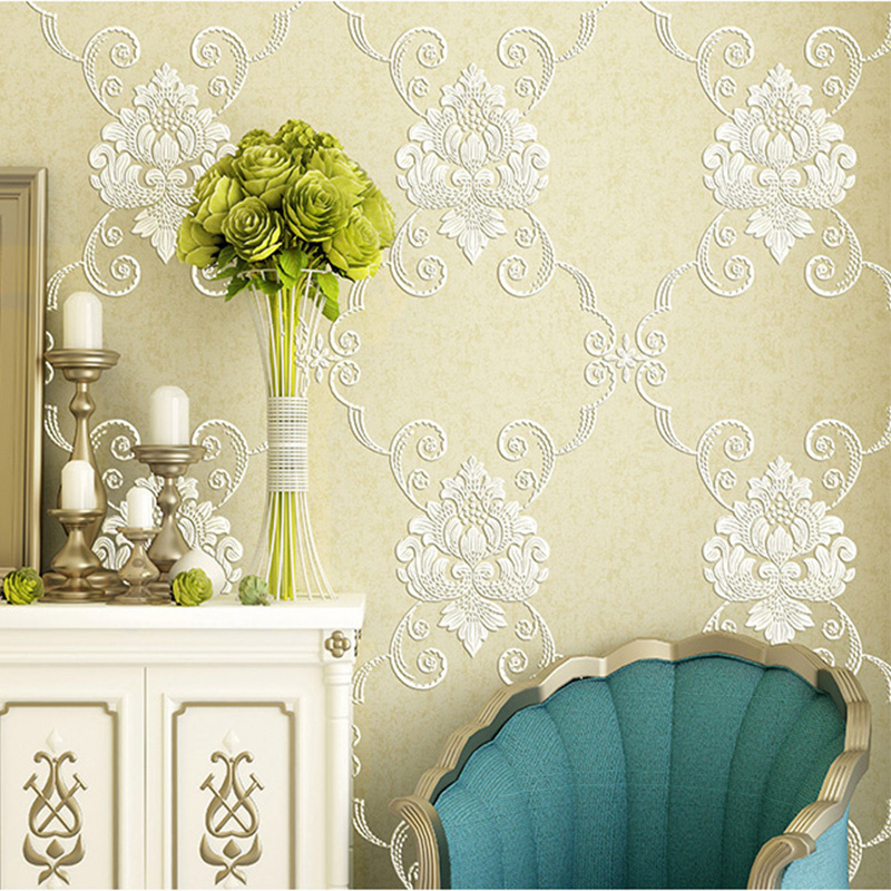 European Style 3D Stereo Relief Non-Woven Pastoral Wallpaper Living Room TV Bedroom Cozy Home Decor Moisture-Proof Wall Papers