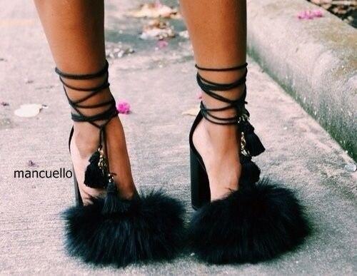 1a9e1f992a3 New Arrival Dark Green Faux Fur Block Heels Fringe Dress Sandals Women Cute  Fur Tassel Chunky